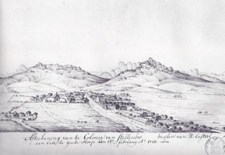 Van Stade Drawing - Earliest picture of Stellenbosch