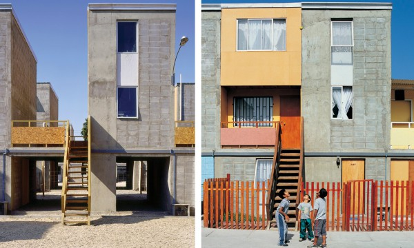 In Iquique, Chile, Aravena provided a concrete frame, with kitchen, bathroom and a roof (left), which were designed to allow families to fill in the gaps (right). Photograph: Cristobal Palma