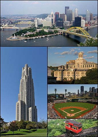 Cathedral of Learning at the University of Pittsburgh; Pittsburgh skyline; Carnegie Mellon University; PNC Park; Duquesne Incline. By Yassie (talk) - Montage created from five images on Wikimedia.