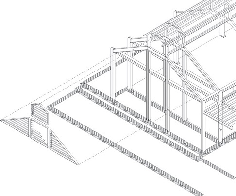 Isometric structure of new restaurant's gable end