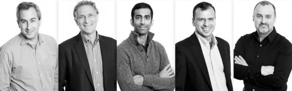 Sidewalk Labs's senior leadership team (left to right) consists of Josh Sirefman, Dan Doctoroff, Anand Babu, Rit Aggarwala, and Craig Nevill-Manning.