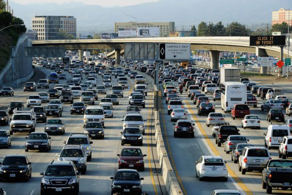 After years spent widening the interstate 405 freeway in Los Angeles, travel times are slightly slower than before.(Kevork Djansezian/Getty Images)