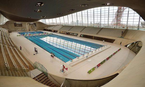 The London Aquatics Centre, designed by Zaha Hadid and built for the 2012 Olympics. Photograph: John Stillwell/PA